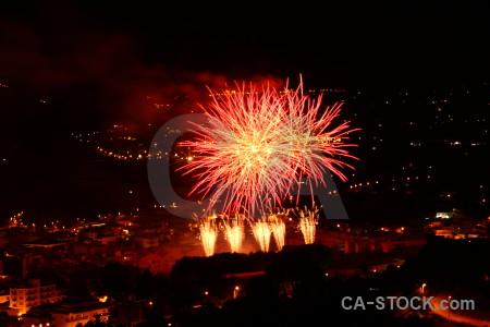 Europe night red black firework.