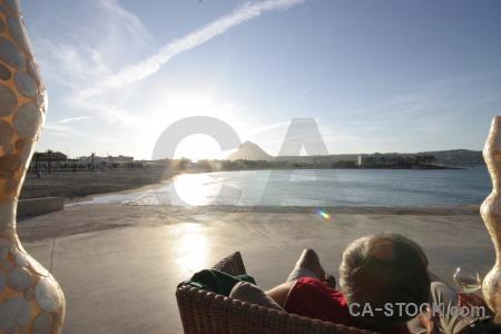 Europe sun contrail arenal beach.