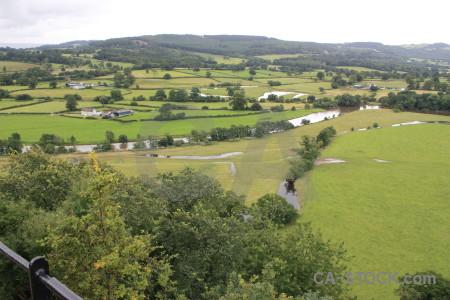 Field green landscape white.