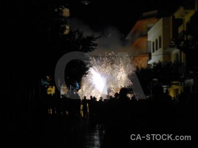 Firework person correfocs building fiesta.