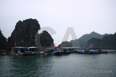 Fishing village boat island vehicle mountain.