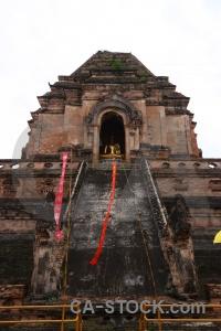 Flag thailand buddhism railing sky.