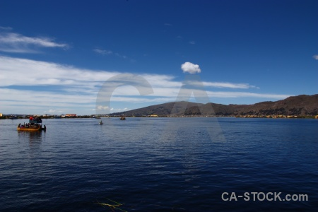 Floating island lake cloud sky puno.