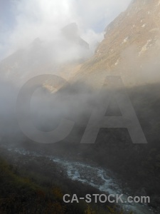 Fog nepal annapurna sanctuary trek himalayan south asia.