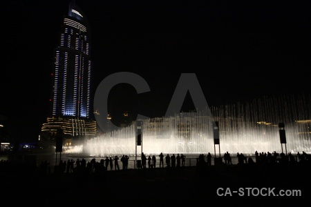 Fountain dubai middle east silhouette uae.