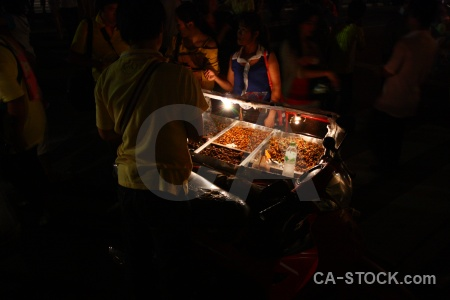 Full moon festival person loi krathong bangkok asia.