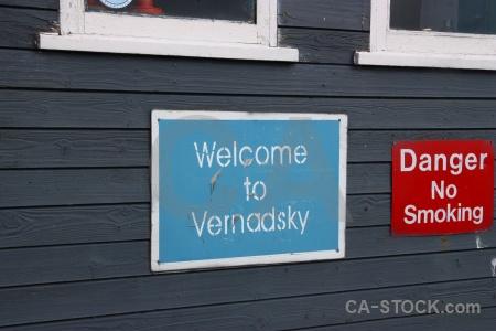 Galindez island sign antarctica vernadsky wilhelm archipelago.
