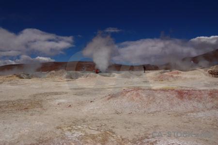 Geyser landscape cloud geiser sol de manana andes.