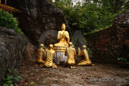 Gold buddhism mount phousi luang prabang rock.