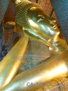 Gold southeast asia temple wat pho thailand.