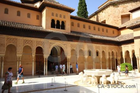 Granada building fountain palace la alhambra de granada.