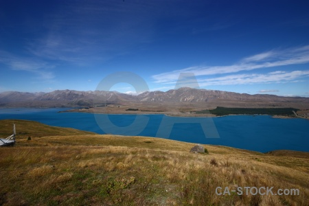 Grass landscape lake mount john sky.