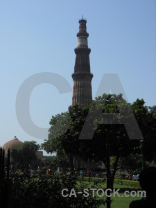Grass qutub minar asia india monument.