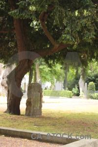 Grave green cemetery statue.