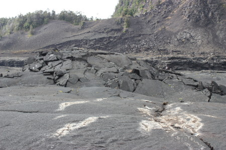 Gray lava volcanic crater.