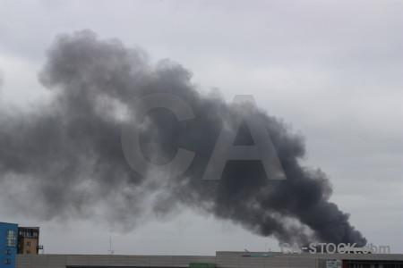 Gray sky smoke.