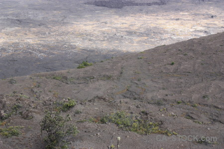 Gray volcanic crater.