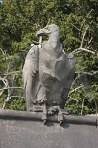 Green animal statue.
