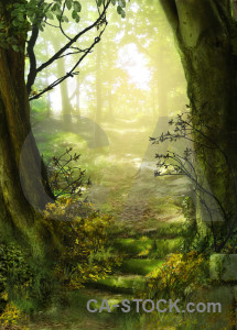 Green fantasy premade backgrounds.