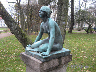 Green figure statue.