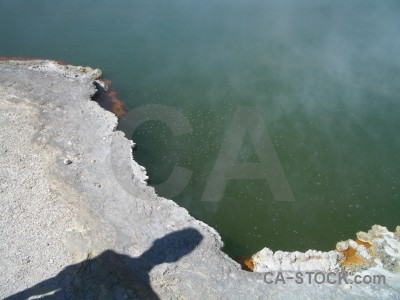 Green volcanic water lake.
