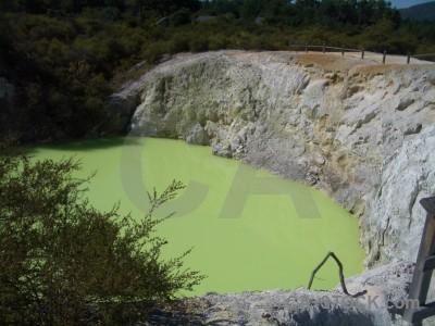 Green water volcanic lake.