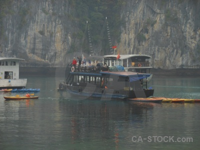Ha long bay boat vietnam asia person.