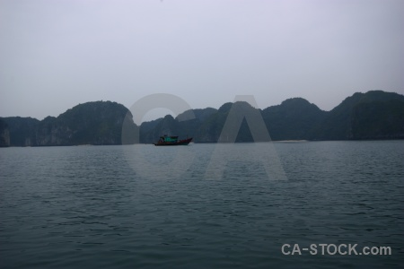 Ha long bay island limestone sky vehicle.