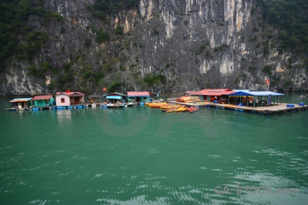 Ha long bay water limestone pontoon vietnam.