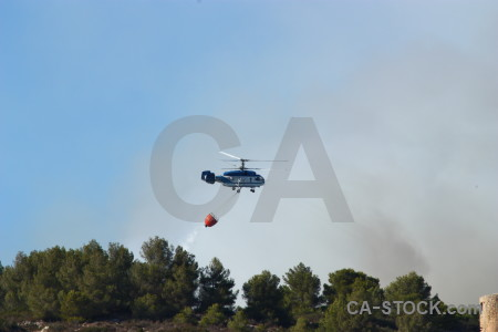 Helicopter javea europe spain smoke.
