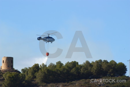 Helicopter vehicle spain montgo fire javea.