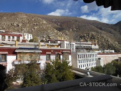Hill tibet drepung monastery asia cloud.