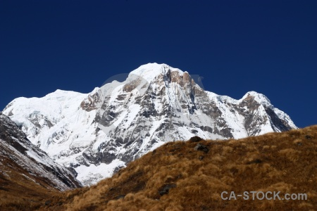 Himalayan annapurna south snowcap mountain sanctuary trek.