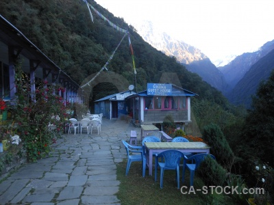 Himalayan mountain annapurna sanctuary trek asia building.