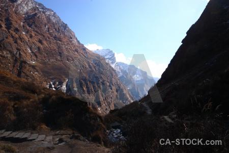 Himalayan trek valley snow nepal.