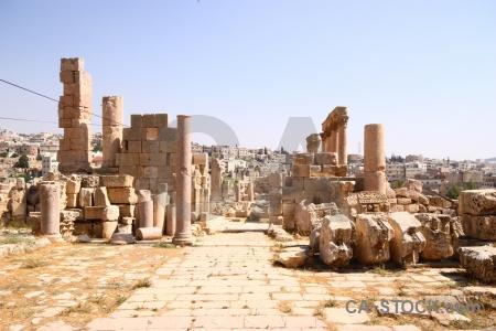 Historic roman stone corinthium ruin.
