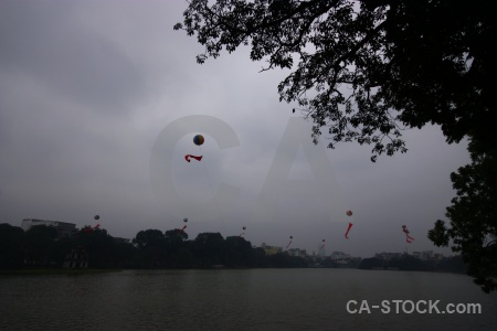 Hoan kiem lake tree sky building asia.