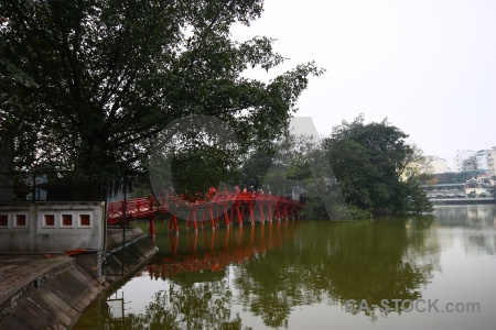 Hoan kiem lake water vietnam tree temple.