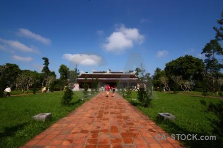 Hue thien mu pagoda sky path person.