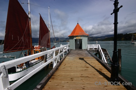 Hut boat water new zealand south island.