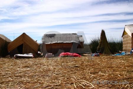 Hut puno altitude peru lake titicaca.