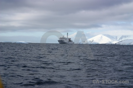 Ice boat ship mountain argentine islands.