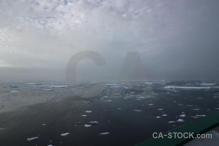 Ice sea water fog antarctica.