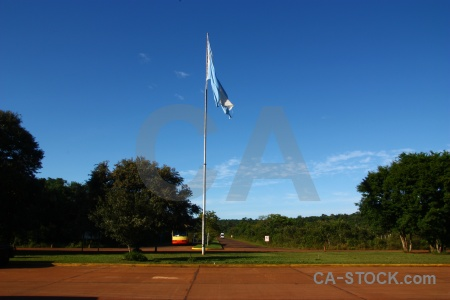 Iguacu falls flag pole south america iguassu road.