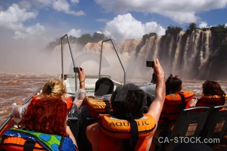 Iguazu falls cloud sky life jacket boat.