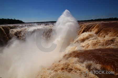 Iguazu falls sky spray waterfall iguazu river.