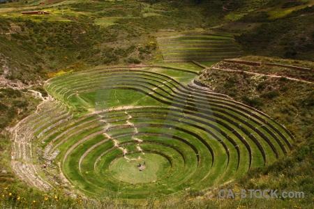 Inca altitude ruin grass landscape.