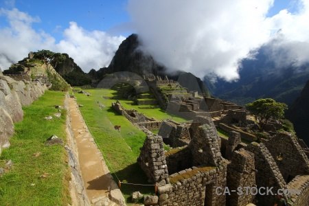 Inca ruin grass altitude south america.