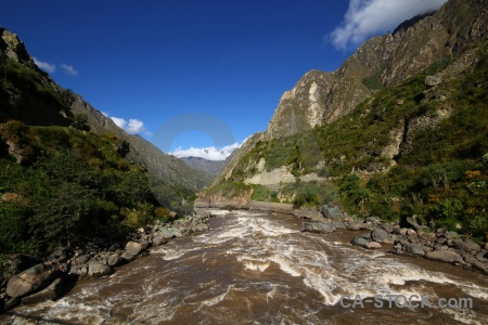 Inca trail cloud andes south america willkanuta river.