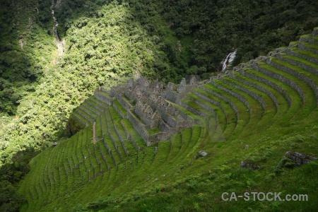 Inca trail ruin stone winay wayna terrace.